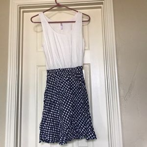White and blue polka dot dress